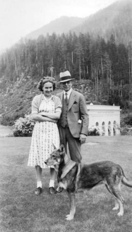 Seymour Falls - Vancouver water system - [L.D. Taylor with] girlfriend and dog