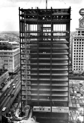 Construction of building on comer of Georgia and Hornby Street