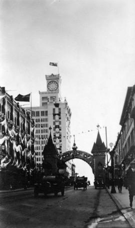 [The German, Swiss and Austrian Societies' arch on Granville Street for the visit of the Duk...