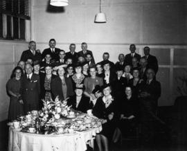 Group photograph of V.E.A. members and ladies at formal tea