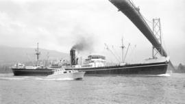 S.S. Inch Castle [passing under Lions Gate Bridge]