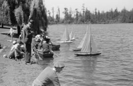 [Model sailboats on Lost Lagoon]