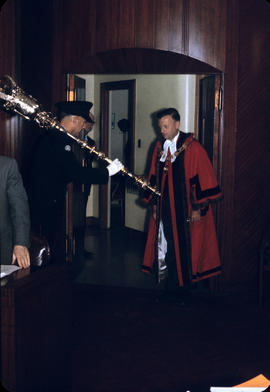 Mayor and mace entering council