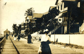 [People strolling boardwalk at Macatawa Park, near Holland, Michigan]