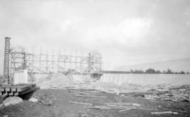 [Burrard Bridge under construction]
