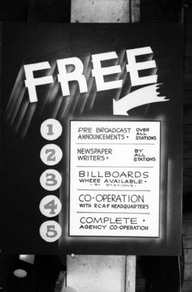 [Poster advertising free announcements over radio stations and R.C.A.F. and agency cooperation]