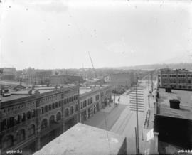 [View of Hastings Street, looking west from the roof of the Bank of British North America buildin...