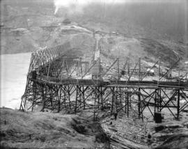 [Partially constructed Coquitlam Dam, looking along centre line of dam site]