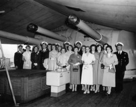 Group photograph of Miss P.N.E. contestants aboard the H.M.S. Sheffield