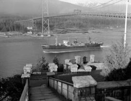"[View of the cargo ship ""Beaton Park"" passing under the Lions Gate Bridge taken from Pr..."