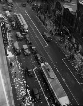 [Aerial view of Hastings Street showing litter on the road and sidewalks after the victory in Eur...