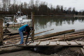 Torch relay cameraman by the Fraser river [1 of 3]