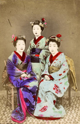 [Studio portrait of three women in formal Japanese dress]