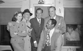 [Jack Benny and troupe in a train at White Rock]