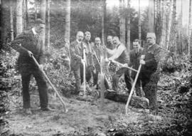 [Men turning sod for B.C. Electric Railway Company's Fraser Valley line]