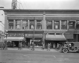 [Stores on] the northeast corner of Hastings and Richards [Streets]
