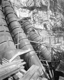 [Partially constructed penstocks for Buntzen Lake Power Plant number two]
