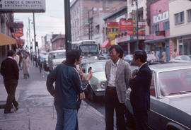 Pender Guy members interviewing people on Pender Street