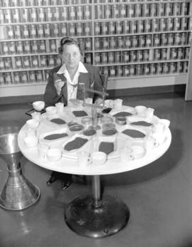 Mrs. Lillico [tasting tea at] Empire Tea Bureau
