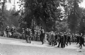 [President Harding and party approaching the bandstand in Stanley Park.]