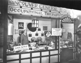 Vancouver General Hospital display of occupational therapy handicrafts