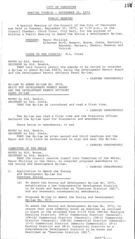 Special Council Meeting Minutes : Sept. 25, 1975