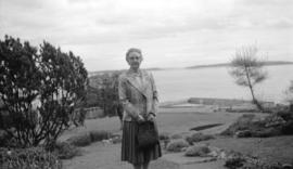 [Portrait of Mrs. W.H.G. Willis on the beach at Oak Bay, Victoria]