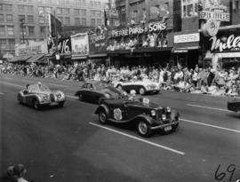 Sports Car Club of B.C. cars in 1955 P.N.E. Opening Day Parade, including Jaguar, M.G., Porsche, ...