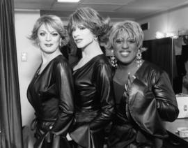 Carlotta Gurl, Justine Thyme, Willie Taylor backstage during 'fit for a queen' [at the]...