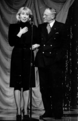Hugh Pickett and Sheril Morton on stage at the Arts Club