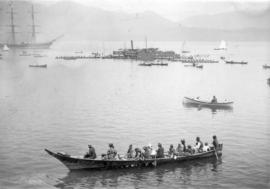 [First Nations war canoe race in Burrard Inlet]