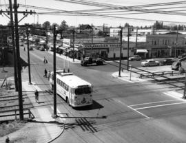 [View of the first trolley bus in Kerrisdale at 41st Avenue and West Bouleverd]