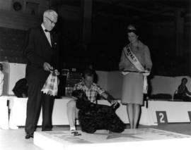 Judge and Fyfe Rutherford, Miss P.N.E. 1964, presenting Best in Show award at 1964 P.N.E. All-Bre...