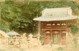 [View of temple surrounded by statues]