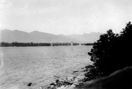 [View across Burrard Inlet toward English Bay from the foot of Trafalgar Street]