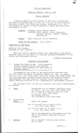 Special Council Meeting Minutes : May 6, 1976