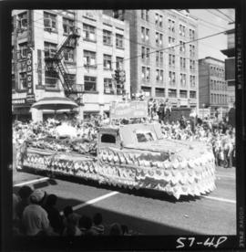 Langley float in 1957 P.N.E. Opening Day Parade