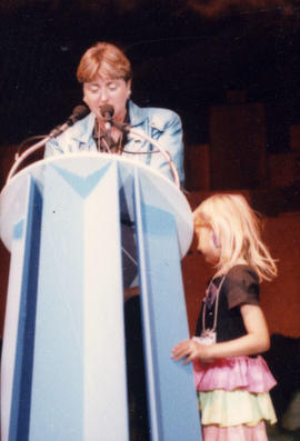 Celebration '90 : Gay Games III [Sara Lewenstein and daughter Jessica at the closing ceremon...