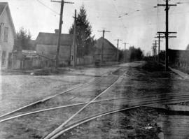 [View of intersection probably River Avenue, now Marine Drive, and Fraser Street]