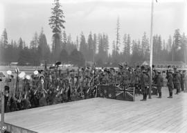 Duke of Connaught's visit [Boy Scouts cheering Duke at Hastings Park]
