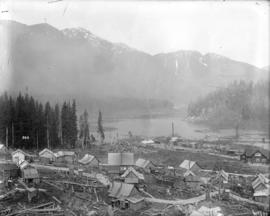 [View of Coquitlam Lake and Coquitlam Dam construction camp]