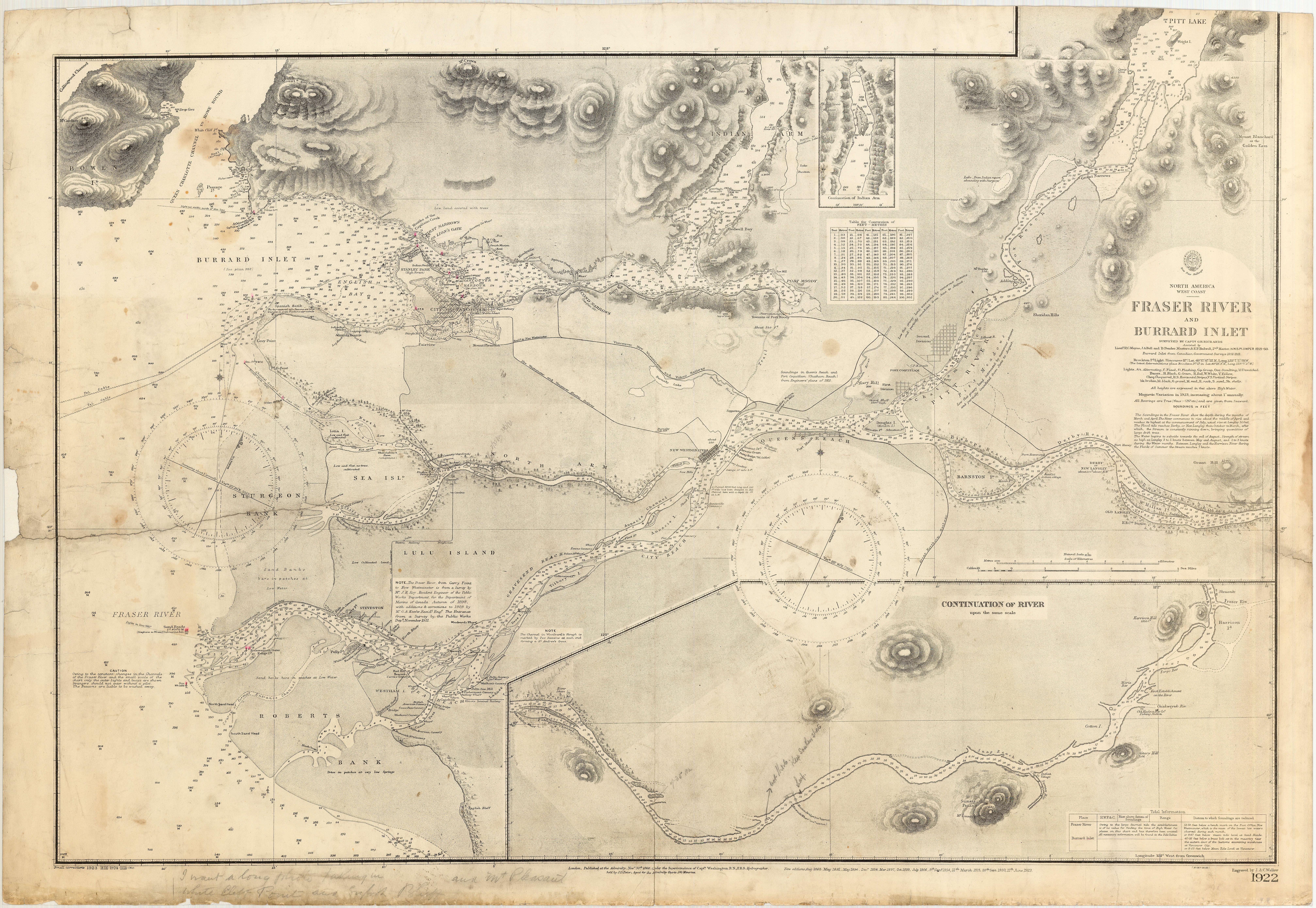 North America West Coast Fraser River And Burrard Inlet City - Map of north america vancouver