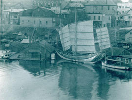 "[Chinese Junk ""Amoy"" docked at Victoria]"