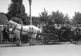 [Frank Plante, E.V. Young, and David Oppenheimer in a horse drawn carriage at Lumbermans Arch for...