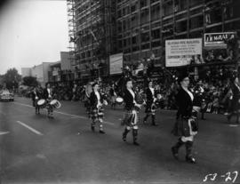Female marching band in 1953 P.N.E. Opening Day Parade