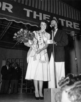 Joan Nagle on Outdoor Theatre stage after being named Miss P.N.E. 1952
