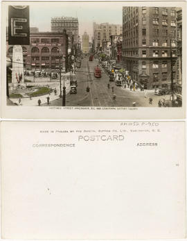 Hastings Street, Vancouver, B.C. and cenotaph, Victory Square