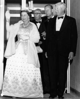 Her Majesty Queen Elizabeth, Dal Grauer, Prince Philip, and Norman MacKenzie at U.B.C.
