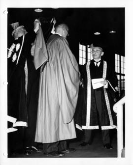 Honorary degree presented to Roderick Haig-Brown by Sherwood Lett and Norman MacKenzie