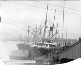 "S.S. ""Miowera"" at wharf, Vancouver, B.C. [with C.P.R. coal barge ""Robert Kerr""]"